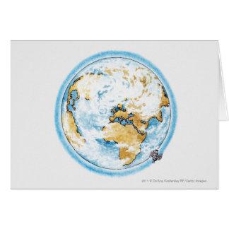 Illustration of satellite orbiting the Earth Card