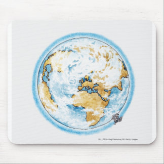 Illustration of satellite orbiting the Earth Mouse Pad