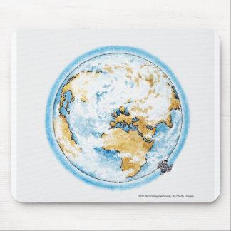 Illustration of satellite orbiting the Earth Mousepad