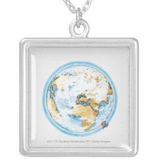 Illustration of satellite orbiting the Earth Square Pendant Necklace