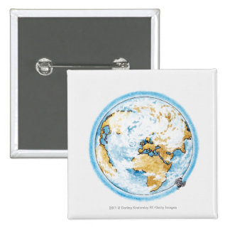 Illustration of satellite orbiting the Earth Pinback Button