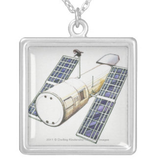Illustration of satellite used for detecting square pendant necklace