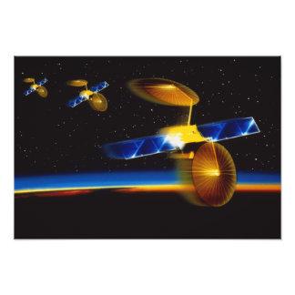 Illustration of satellites over Earth's horizon Photo Print