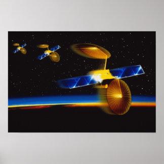 Illustration of satellites over Earth's horizon Poster