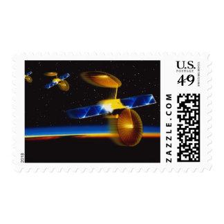 Illustration of satellites over Earth's horizon Stamp