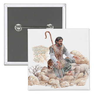 Illustration of shepherd finding his lost sheep 2 inch square button