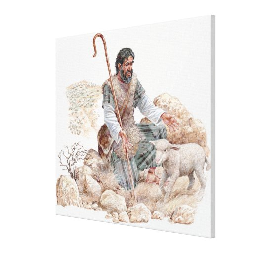 Illustration of shepherd finding his lost sheep stretched canvas print