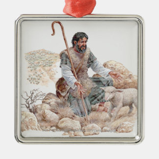 Illustration of shepherd finding his lost sheep metal ornament