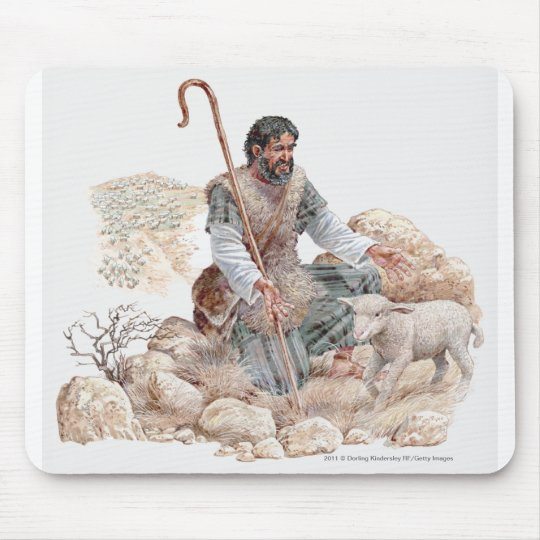 Illustration of shepherd finding his lost sheep mouse pad