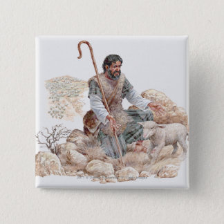 Illustration of shepherd finding his lost sheep pinback button