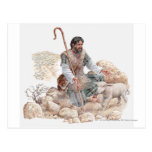 Illustration of shepherd finding his lost sheep post card