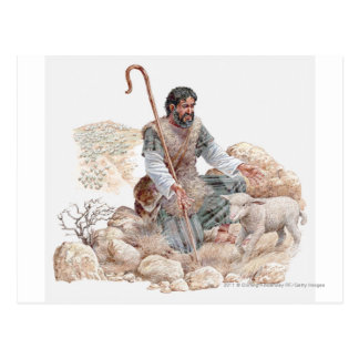 Illustration of shepherd finding his lost sheep postcard