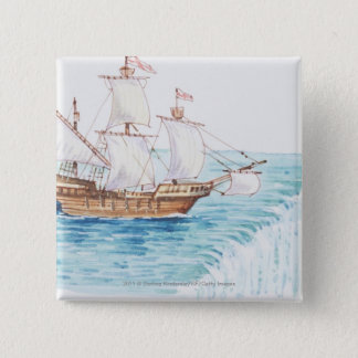 Illustration of ship approaching edge of waterfall button