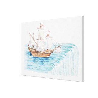 Illustration of ship approaching edge of waterfall canvas print