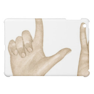 Illustration of sign language using fingers and iPad mini case