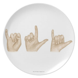 Illustration of sign language using fingers and melamine plate