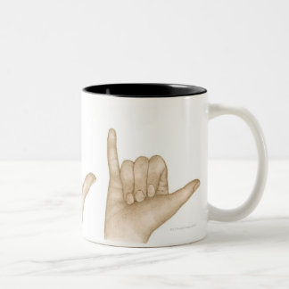 Illustration of sign language using fingers and Two-Tone coffee mug