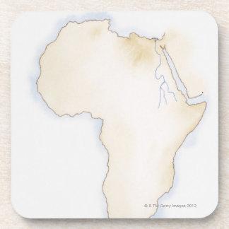 Illustration of simple outline map of Africa Beverage Coaster