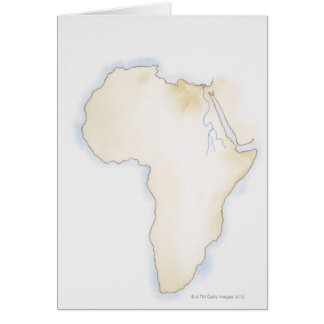 Illustration of simple outline map of Africa Card