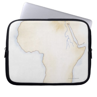 Illustration of simple outline map of Africa Computer Sleeve