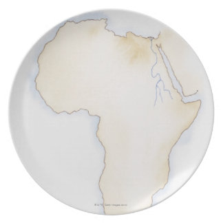 Illustration of simple outline map of Africa Dinner Plate