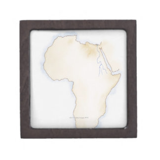 Illustration of simple outline map of Africa Jewelry Box