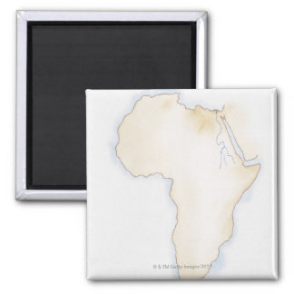 Illustration of simple outline map of Africa Magnet