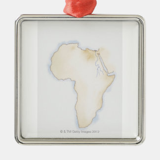 Illustration of simple outline map of Africa Metal Ornament