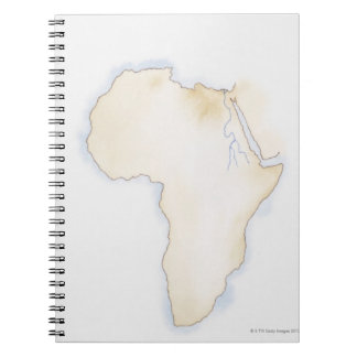 Illustration of simple outline map of Africa Notebook