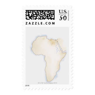 Illustration of simple outline map of Africa Postage