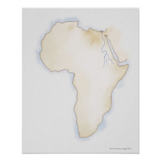 Illustration of simple outline map of Africa Poster