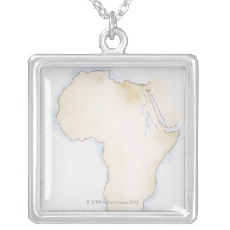 Illustration of simple outline map of Africa Silver Plated Necklace