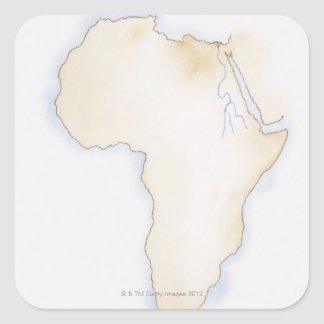 Illustration of simple outline map of Africa Square Sticker