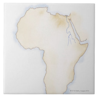 Illustration of simple outline map of Africa Tile