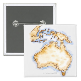 Illustration of simple outline map of Australia Button