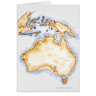 Illustration of simple outline map of Australia Cards
