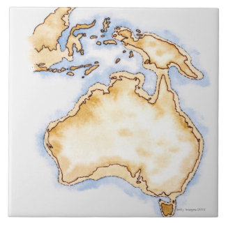 Illustration of simple outline map of Australia Ceramic Tile
