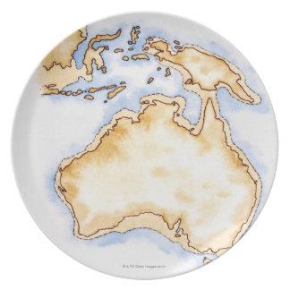 Illustration of simple outline map of Australia Plate