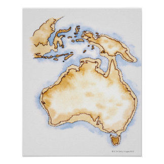 Illustration of simple outline map of Australia Poster
