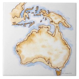 Illustration of simple outline map of Australia Tile