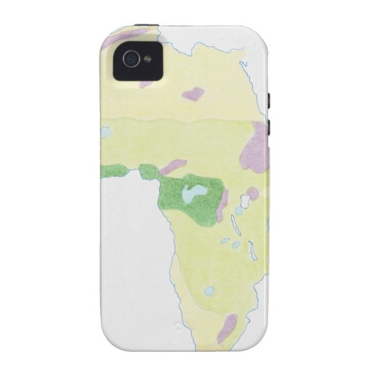 Illustration of simple outline map showing iPhone 4 cover
