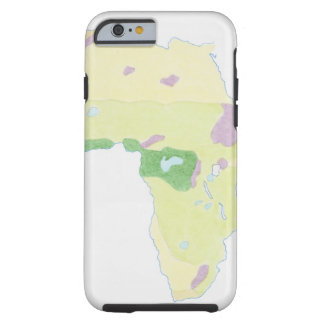 Illustration of simple outline map showing tough iPhone 6 case