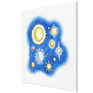 Illustration of solar system canvas print