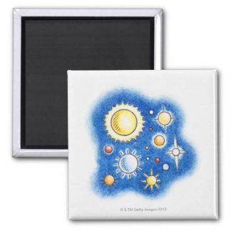 Illustration of solar system magnets