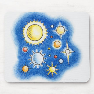 Illustration of solar system mouse pad
