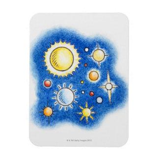 Illustration of solar system vinyl magnets