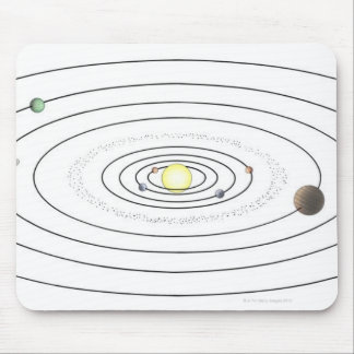 Illustration of solar system showing planets mouse pad