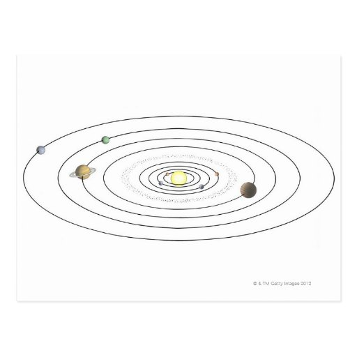 Illustration of solar system showing planets postcard