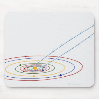 Illustration of solar system with path of mouse pad