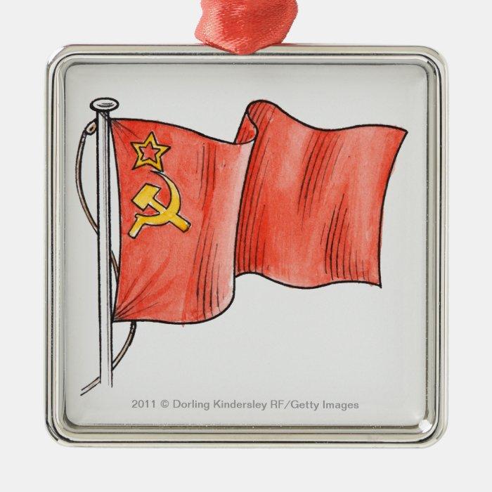 Illustration of Soviet flag Metal Ornament